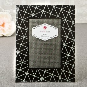 Stunning Black Geometric Glass Frame With Silver Glitter image