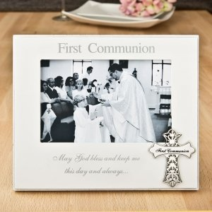 First Communion 6 x 4 Frame With Ornate Metal Cross image