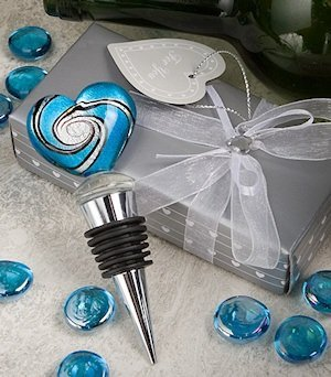 Blue Murano Heart Wine Bottle Stoppers Favors image