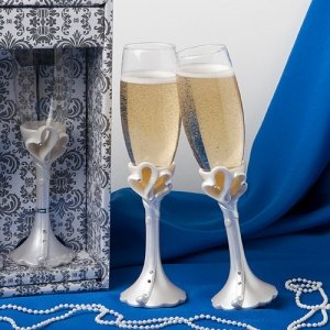 Joined Hearts Toasting Flutes image