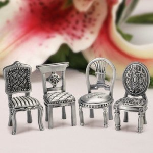 Pewter Place Card Chairs image