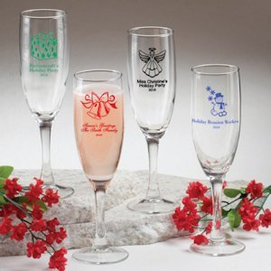 Personalized Champagne Flutes - Holiday Designs image