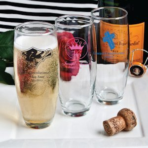 Sweet Celebrations Custom Stemless Champagne Flutes image
