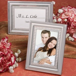 Matte Silver Beaded Place Card Picture Frames image