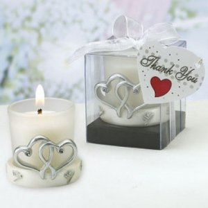 Glass Candle Holder with Double Heart Base Design image