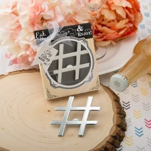 Hashtag Love Silver Metal Bottle Opener Favors image