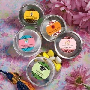 Personalized Themed Silver Round Mint Tins image