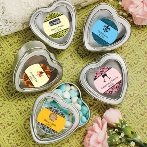 Personalized Heart Shaped Silver Mint Tins image