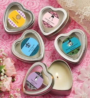 Personalized Heart Shaped Travel Candles image