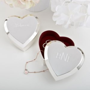 Engraved Large Silver Heart Box with Beveled Edge image