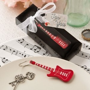 Classic Red Electric Guitar Key Chain Favor image