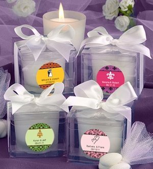 Personalized Wedding Theme Candle Favors image