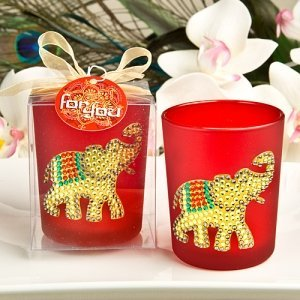 Ruby Red Good Luck Elephant Votive Candle Holder image