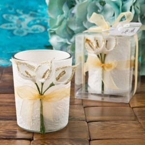 Gold Calla Lily Design Votive Candle Holder Favors image