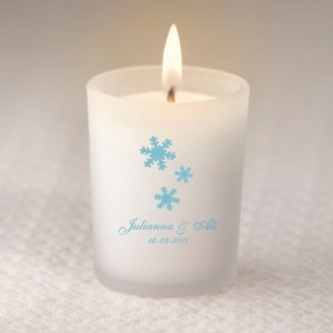 Personalized Winter Wedding Glass Candle Holder image