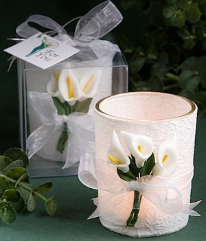 Calla Lily Design Wrapped Candle Favors image