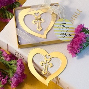 Golden Heart and Cross Bookmark Favors image