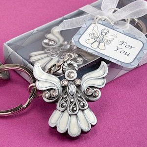 Divine Angel Keychain Favors with Enamel Inlay image