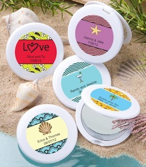 Beach Theme Personalized Mirror Compact Favors image