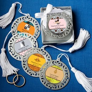 Personalized Bookmark Favors with Damask Cutout Border image