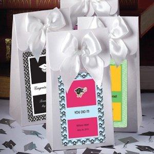 Personalized White Graduation Gift Boxes with Bow image