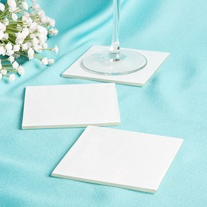Perfectly Plain Milky White Glass Coasters image