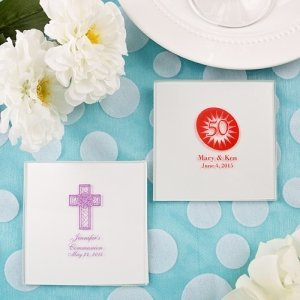 Silkscreened White Glass Coaster Party Favors image