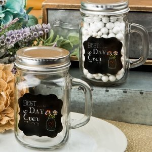 Best Day Ever 12 oz Glass Mason Jar With Handle image