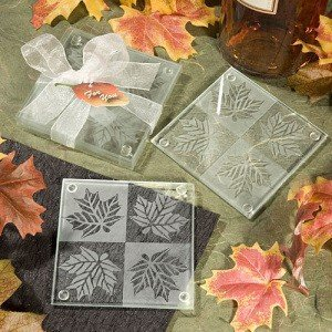 Maple Leaf Frosted Glass Coasters (Set of 2) image
