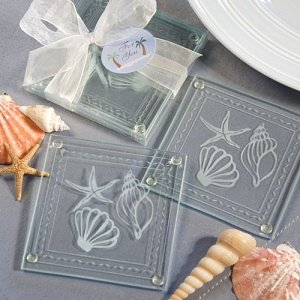 Beach Themed Glass Coaster Favors image