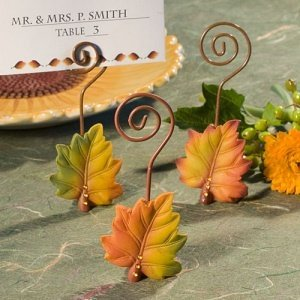Autumn Leaf Wire Place Card Holders (3 Assorted Colors) image