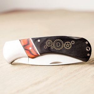 Personalized Steampunk Two-Tone Wood Handle Pocket Knife image