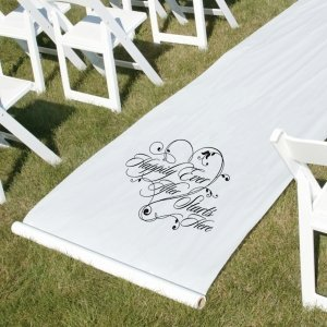 White Happily Ever After Wedding Aisle Runner image