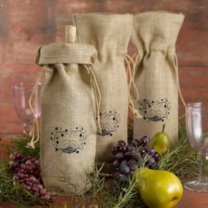 Love Birds Design Burlap Wine Bag image
