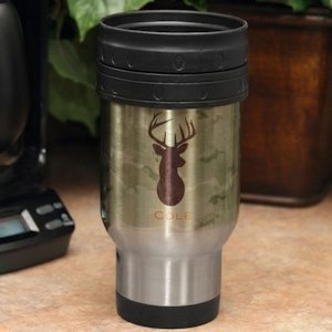Personalized Green Camo Stainless Steel Mug image