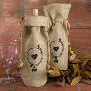 Globe with Heart Burlap Wine Bag image