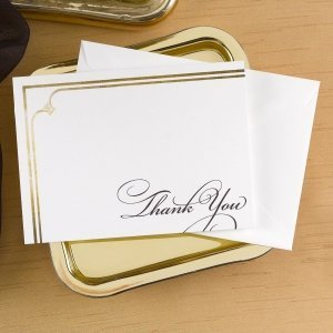 Golden Elegance Thank You Cards (Set of 50) image