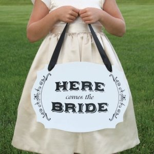 Two-Sided Here Comes the Bride Wedding Sign image