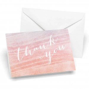 Coral & Aqua Ombre Thank You Cards (Set of 50) image