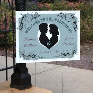 Personalized Silhouette Wedding Yard Sign image