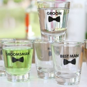 Bow Tie Wedding Party Shot Glass (3 Designs) image