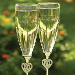 50th Anniversary Jeweled Hearts Toasting Flutes image