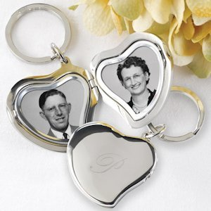 Engraved Initial Heart Locket Keychain image