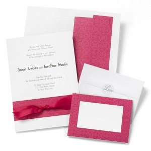 White Wedding Invitation Kit with Fuchsia Scroll Design (50) image