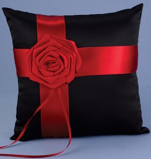 Midnight Rose Red and Black Ring Bearer Pillow image