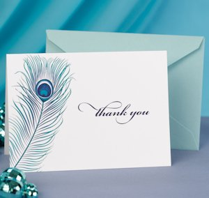 Peacock Feather Thank You Note Cards image