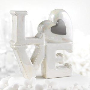 Porcelain Love Cake Topper (Silver or Gold) image