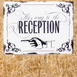 Vintage 'This way to Reception' Yard Sign image