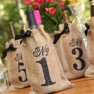 Burlap Table Number Wine Bags (Set of 10) image