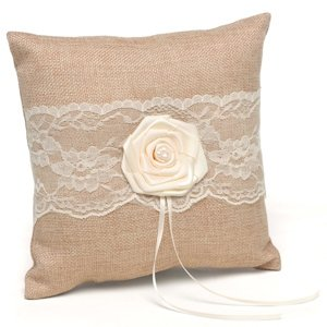 Rustic Country Burlap Ring Pillow image
